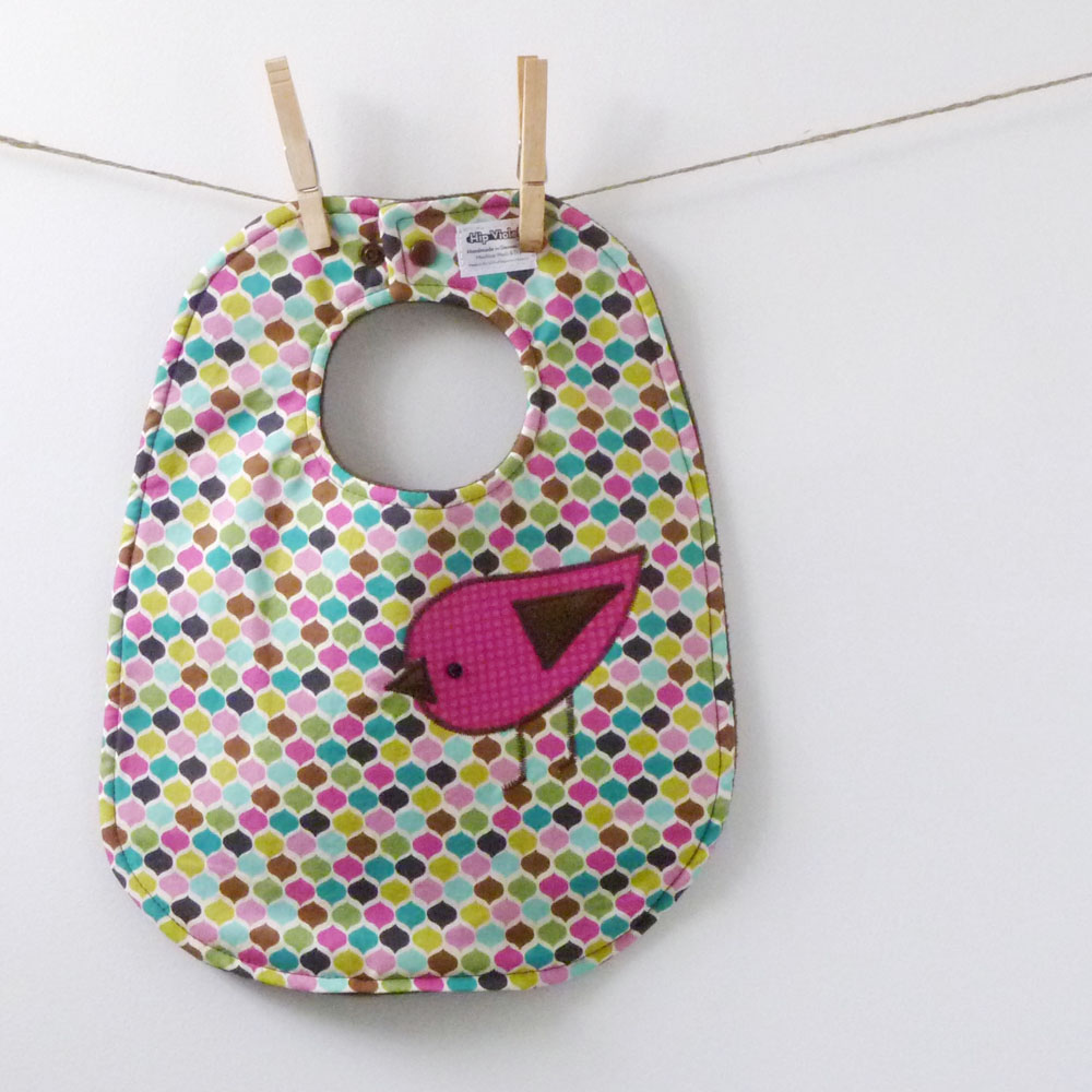 Appliqued Birdie Baby Bib - Perfect Baby Shower Gift!
